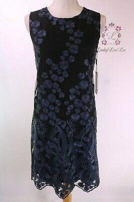 KARL LAGERFELD Paris New w Tag BLACK Embroidered Lace-Front Sheath Dress