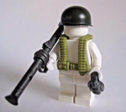Bazooka Helmet Vest BrickArms BAZOOKA SOLDIER Pack for WW2 Minifigure