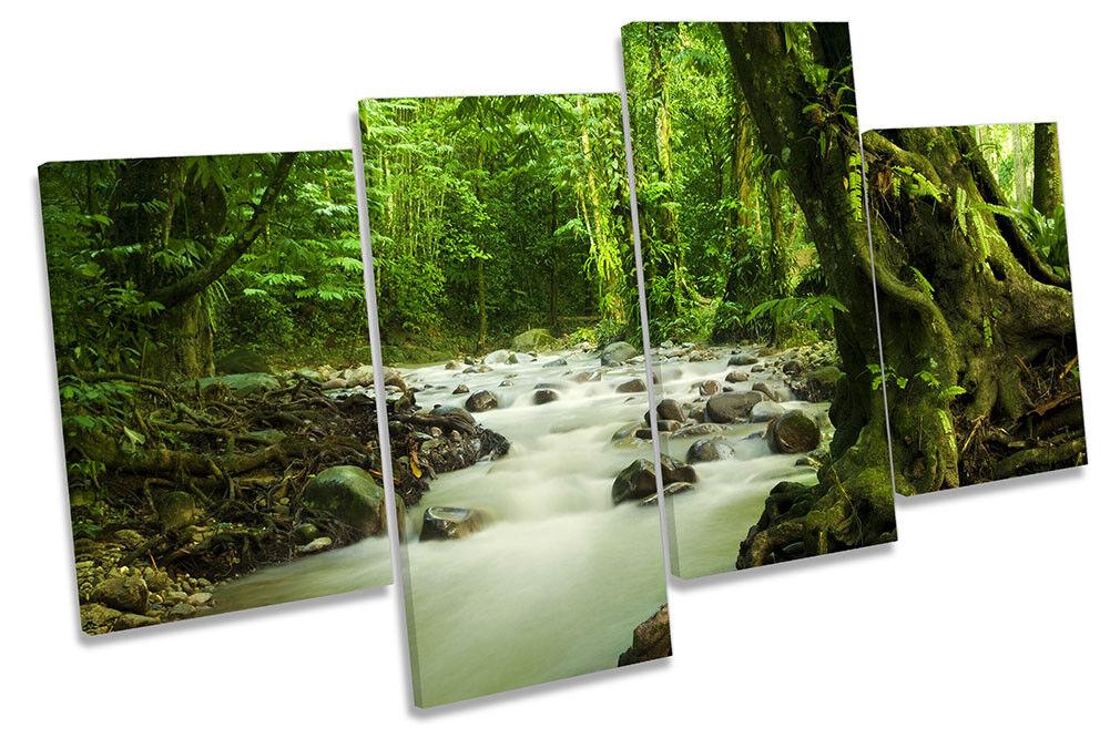 Grün Forest Landscape River Picture MULTI MULTI MULTI CANVAS WALL ART Print 425f51