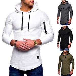 Mens-Hoodie-Jacket-Sweatshirt-Hooded-Top-Casual-Jumper-Pullover-T-shirt-Blouse