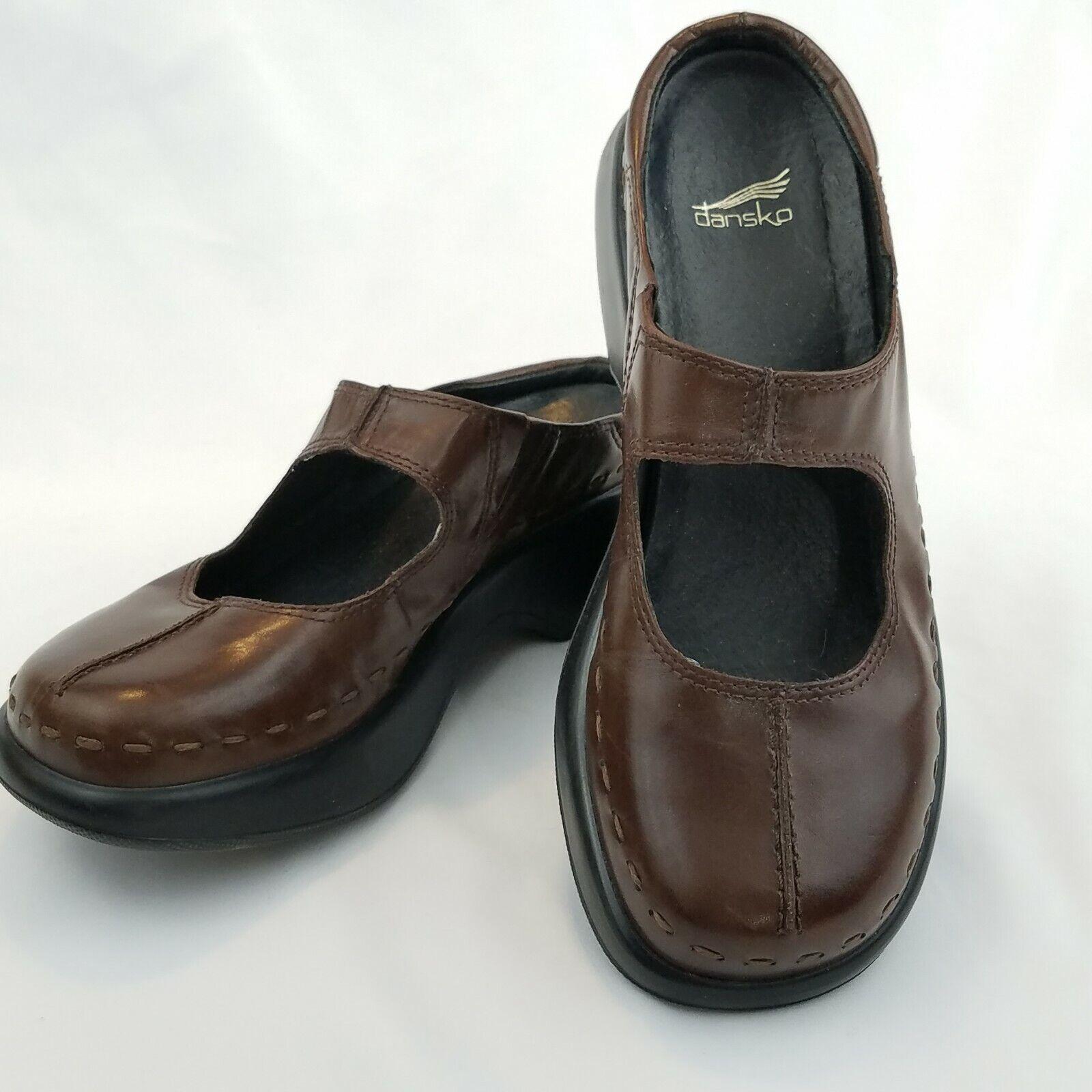DANSKO Madori Mary Jane Mules Clogs Work Shoe US 7.5 EU 38 Brown Slip On