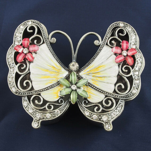 NEW Trinket Box BUTTERFLY Pewter Jewelled Crystals Pink Cream Green Lift lid 9cm