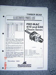 mcculloch pro mac 610 and 650 parts list ebay rh ebay co uk McCulloch 610 Chainsaw Service Manual McCulloch 610 Chainsaw