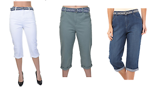 NEW-Ladies-039-Gloria-Vanderbilt-Belted-Amanda-Cuffed-Leg-Capri-VARIETY