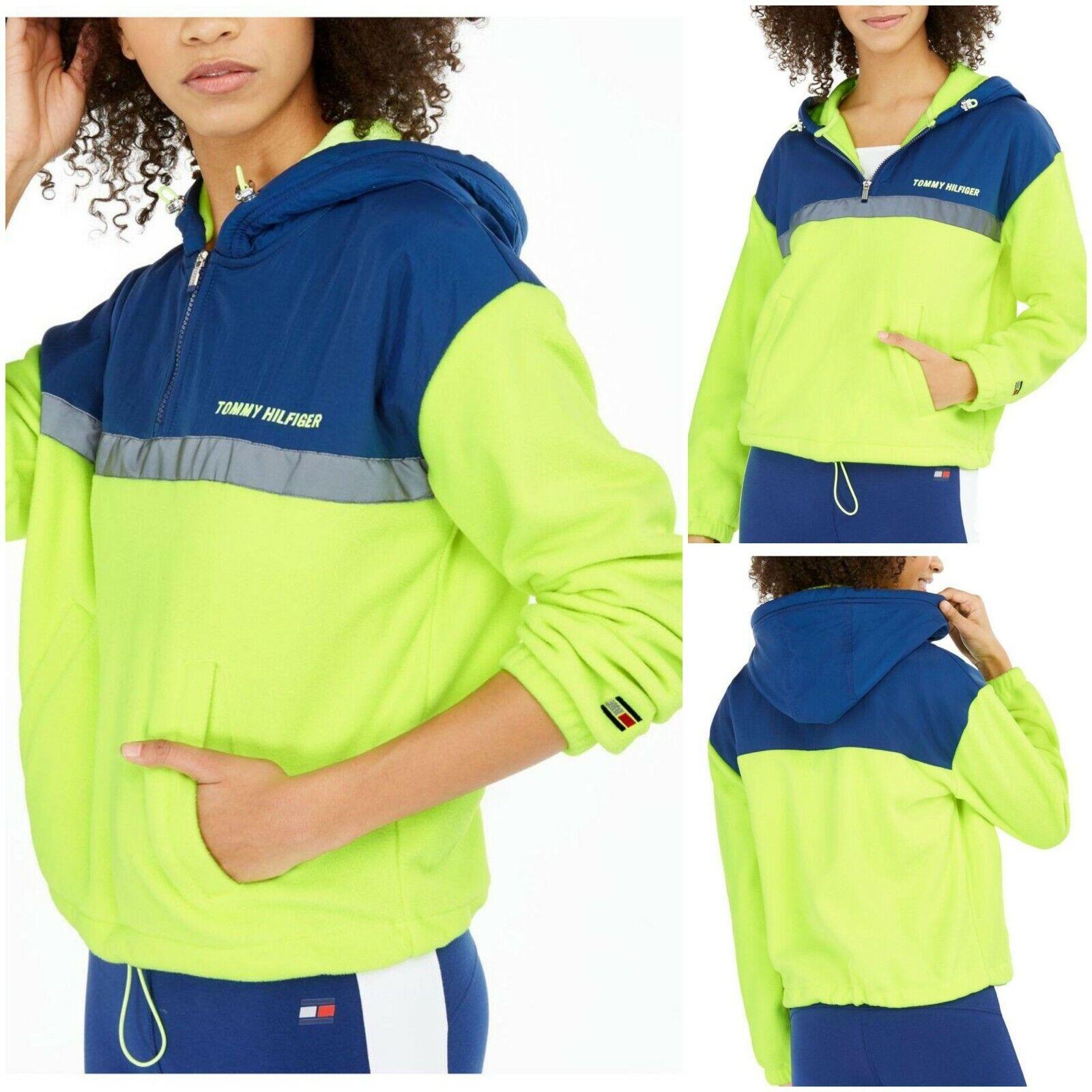 NWT TOMMY HILFIGER Sport Women's Polar Fleece Hoodie Neon Green SELECT SIZE