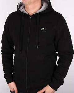 5c130f2a1f Lacoste Hoody in Black & Grey - hoodie hooded sweat zip through ...