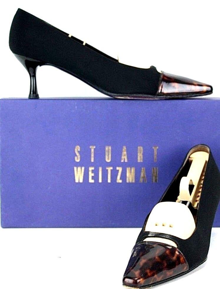 promozioni eccitanti Stuart Stuart Stuart Weitzman Pumps Dimensione 7 AA nero Fabric Patent Leather Captoe Heels WH71  si affrettò a vedere