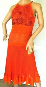 New-NWT-3350-Roberto-Cavalli-Embroidered-Embellished-Crochet-Dress-US-2-IT-38
