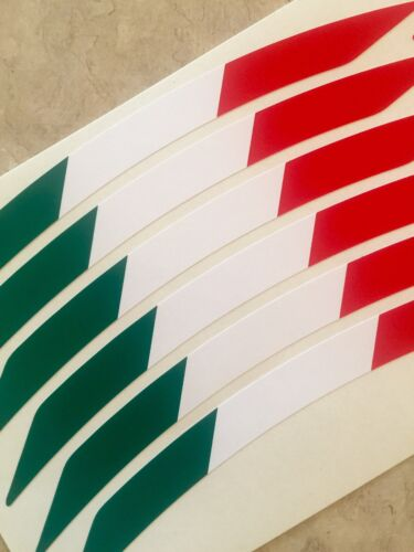 MV AGUSTA RIVALE MOTORCYCLE WHEEL RIM STICKERS TRIM ITALIAN FLAG RED VINYL