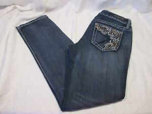 Rue-21-Twentyone-Black-Mid-Rise-Boot-Skinny-Relax-Women-039-s-Blue-Jeans-Size-7-8