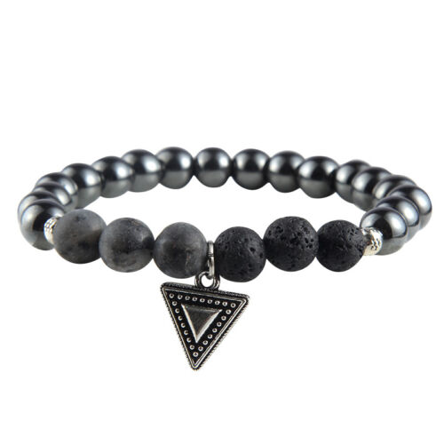 Men/'s Natural Hematite/&Turquoise/&Lava Stone Beaded Triangle Metal Charm Bracelet