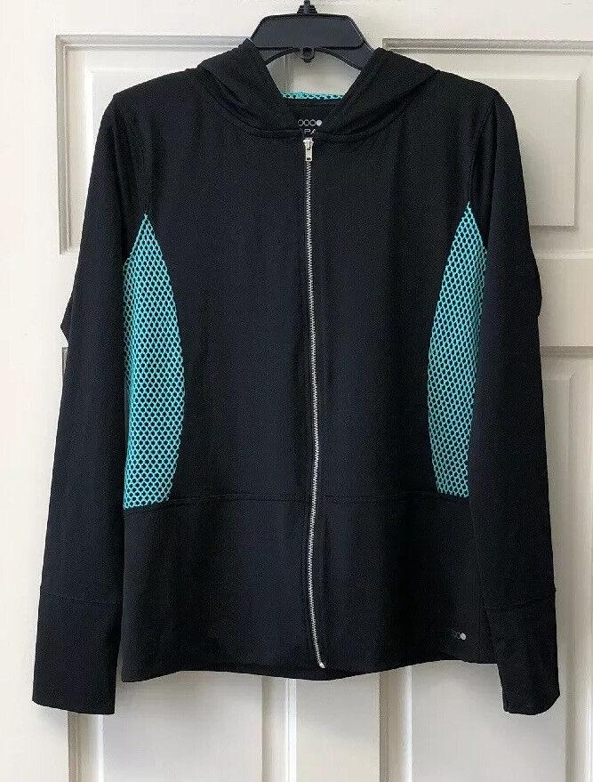 Papaya Womens M Multi Active Full Zip Long Sleeve Hooded Lightweight Jacket
