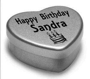 Happy Birthday Sandra Mini Heart Tin Gift Present For Sandra With