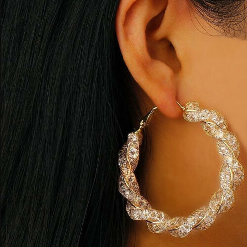 Women Simple Chic Large Twist Ring Round Circle Geometric Earrings Jewelry Z
