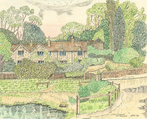 N.K. Day - 1997 Pen and Ink Drawing, Upper Slaughter, The Cotswolds