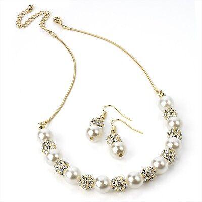 Diamate & Perle Oro Collana Con Orecchini Abbinati Gioielli Set-mostra Il Titolo Originale Bianco Puro E Traslucido