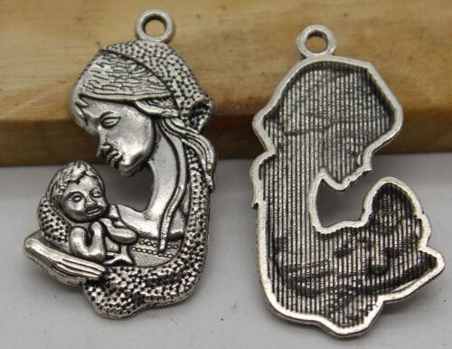 15//30pcs Retro style mother Charm Pendant DIY Jewellery crafts 36X19mm