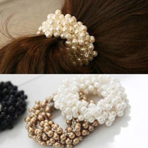 Neue Damen Perlen Haarband Haargummi Scrunchie Gummihaarband Haarschmuck