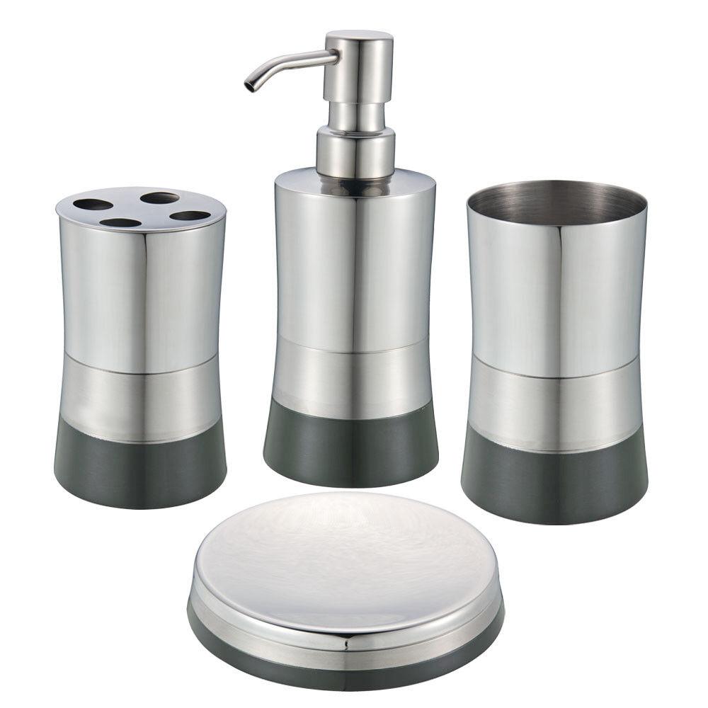 Graphite Stainless Steel Bath Set Soap Dispenser Toothbrush Holder Soap