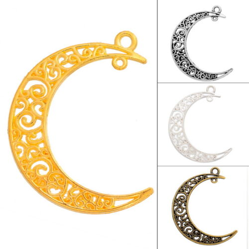 5PCs Pendants Hollow Out Moon Jewelry Findings For Necklace Bracelet Unisex