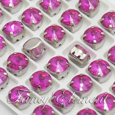 48pc Glass Round 1122 Fuchsia 10mm Crystal Foiled Silver Plate Sew On Rhinestone