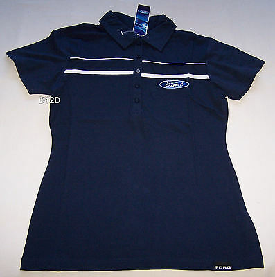 Ford Logo Ladies Navy Blue Embroidered Short Sleeve Polo Shirt Size 8 New