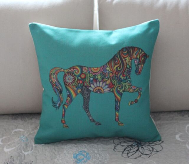 """17"""" Turquoise Colorful Horse Cotton Linen Cushion Cover Throw Pillow Decor B593"""