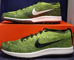 factory price c6402 90bf8 Image is loading Nike-Flyknit-Racer-Golf-Shoes-Volt-Black-Sequoia-