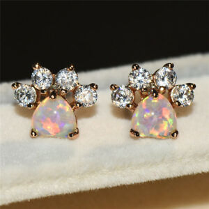 Cute-Lovely-Dog-Paw-Footprint-Fire-Opal-CZ-Rose-Gold-Stud-Earrings-Jewelry-Gifts