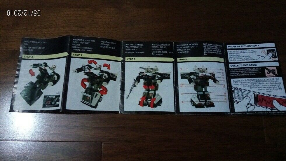 Transformers Instruction Booklet - Heroic Heroic Heroic Autobot Prowl  HASBRO 1984 - VINTAGE - 8a78ad