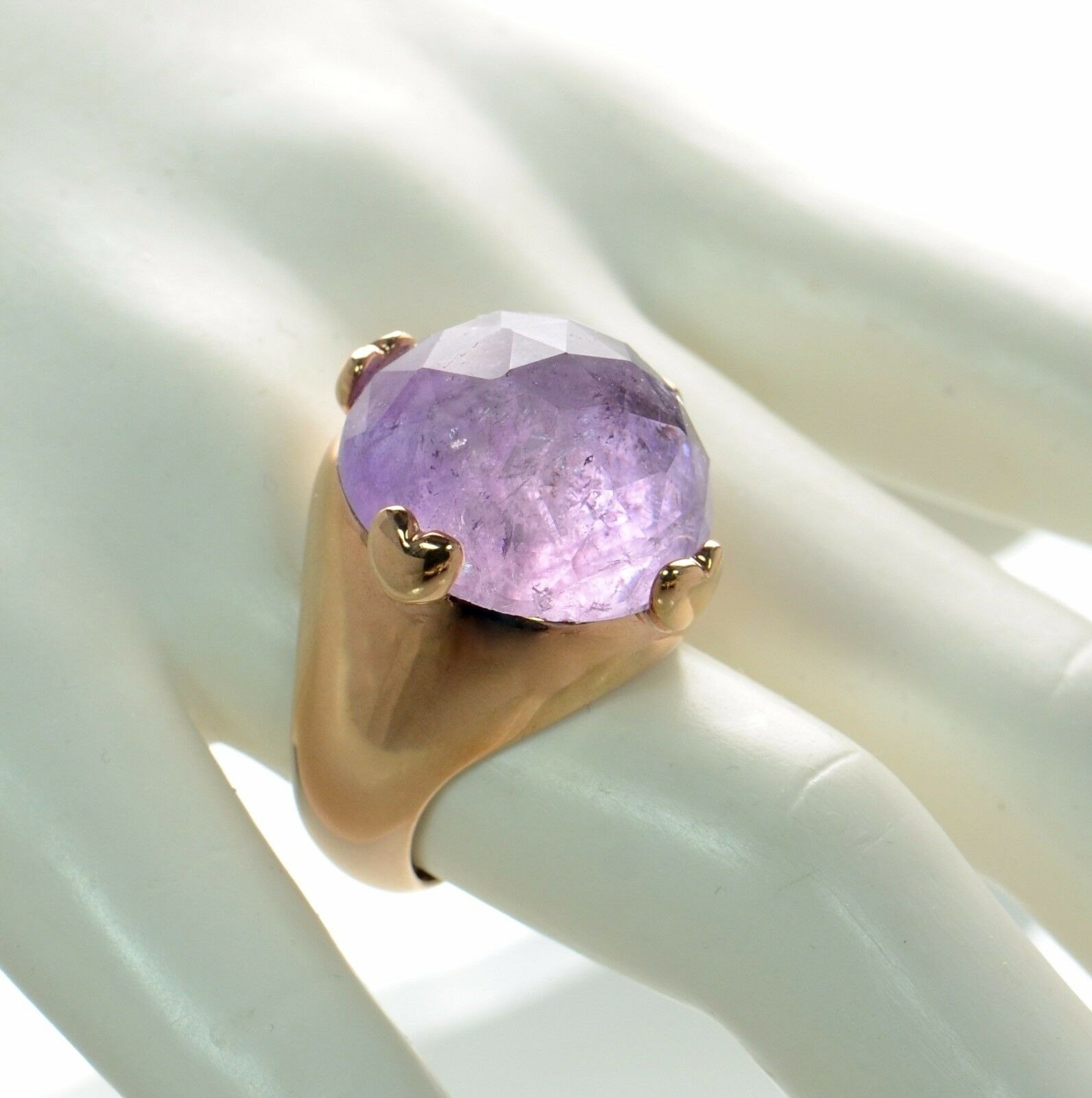 Bronzo Italia Light Amethyst Faceted Round Stone Ring Size - 5
