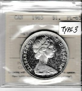 Canada 1965 Type 3 1 dollar silver ICCS PL-65 Lrg. Bds. Blt 5; Cameo