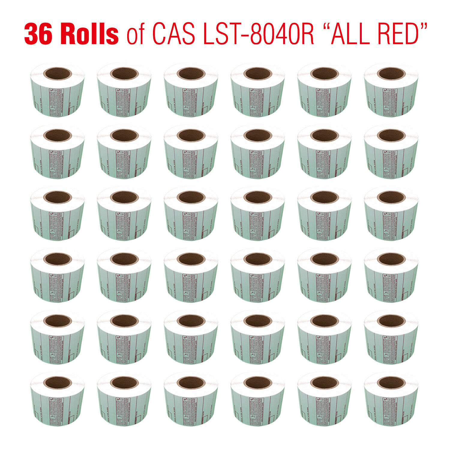 CAS LST-8040 Printing Scale Label,  ALL RED LETTERS ,58x60mm,  36ROLLS  Per Case