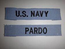 Set Of 2 US Navy Patches: U.S. NAVY Pocket Tape + PARDO Name Tape