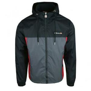 Ellesse-Mens-Jacket-Track-Top-Full-Zip-Hooded-Black-Grey-Herens-New