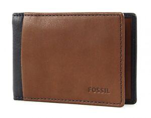 FOSSIL-Ward-Money-Clip-Bifold-Geldklammer-Geldboerse-Navy-Braun-Blau-Neu