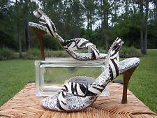 Naughty Monkey Womens 8 Black White Fur Zebra Strappy High Heels Slingback NEW!