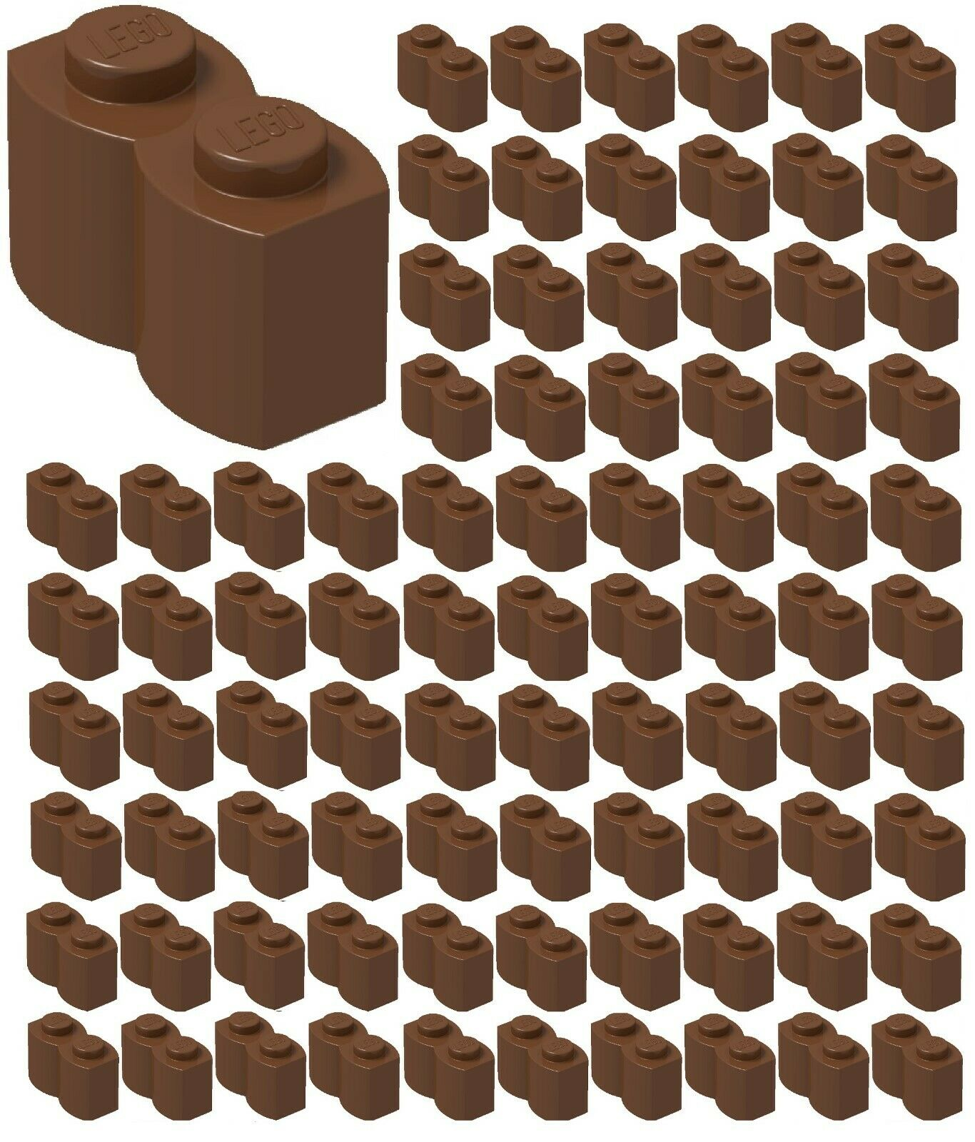 Lego X100 New Reddish Brown 1x1 Brick Bulk Building Parts Lot
