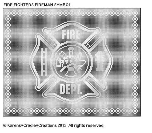 FIREFIGHTER//FIREMAN SYMBOL Filet DOILY//TABLE RUNNER Pattern