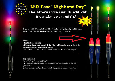 """1x LED YAD-Pose """" Night and Day """" 4,6,8,10,26 o 110g. inkl.2 x Stabbatterien 3V"""