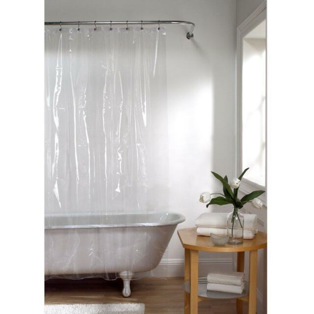 Shower Curtain Liner with Rust Proof Metal Grommets Clear Bathroom Maytex