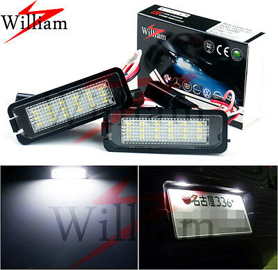 2x LED License Plate Lights Xenon White Lamps For AUDI A6 S6 C6 RS6 4F 2005-2011