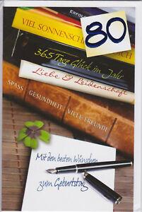 1 Geburtstagskarte Zahlenkarte zum 80 zigsten Glückwunschkarte Grusskarten