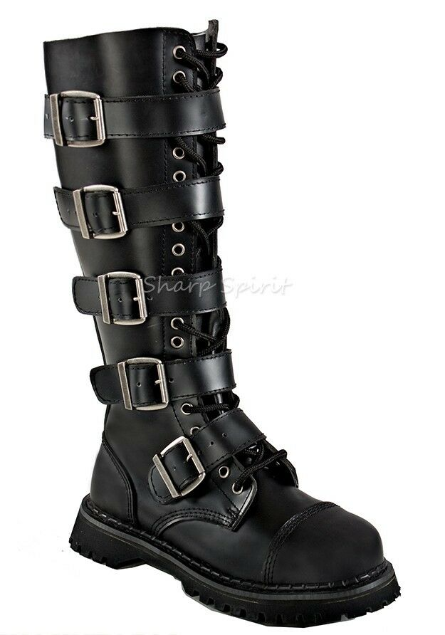 Knee high Buckle Steampunk Goth Punk Combat Military Lace up Biker Boots Men's