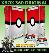 XBOX 360 POKEBALL POKEMON GO STICKER SKIN & 2 CONTROLLER PAD SKINS