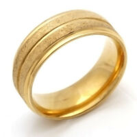 fashion jewelry Stainless Steel Scrub Ring Size 7 8 9 10 11 24k Yellow Gold Band
