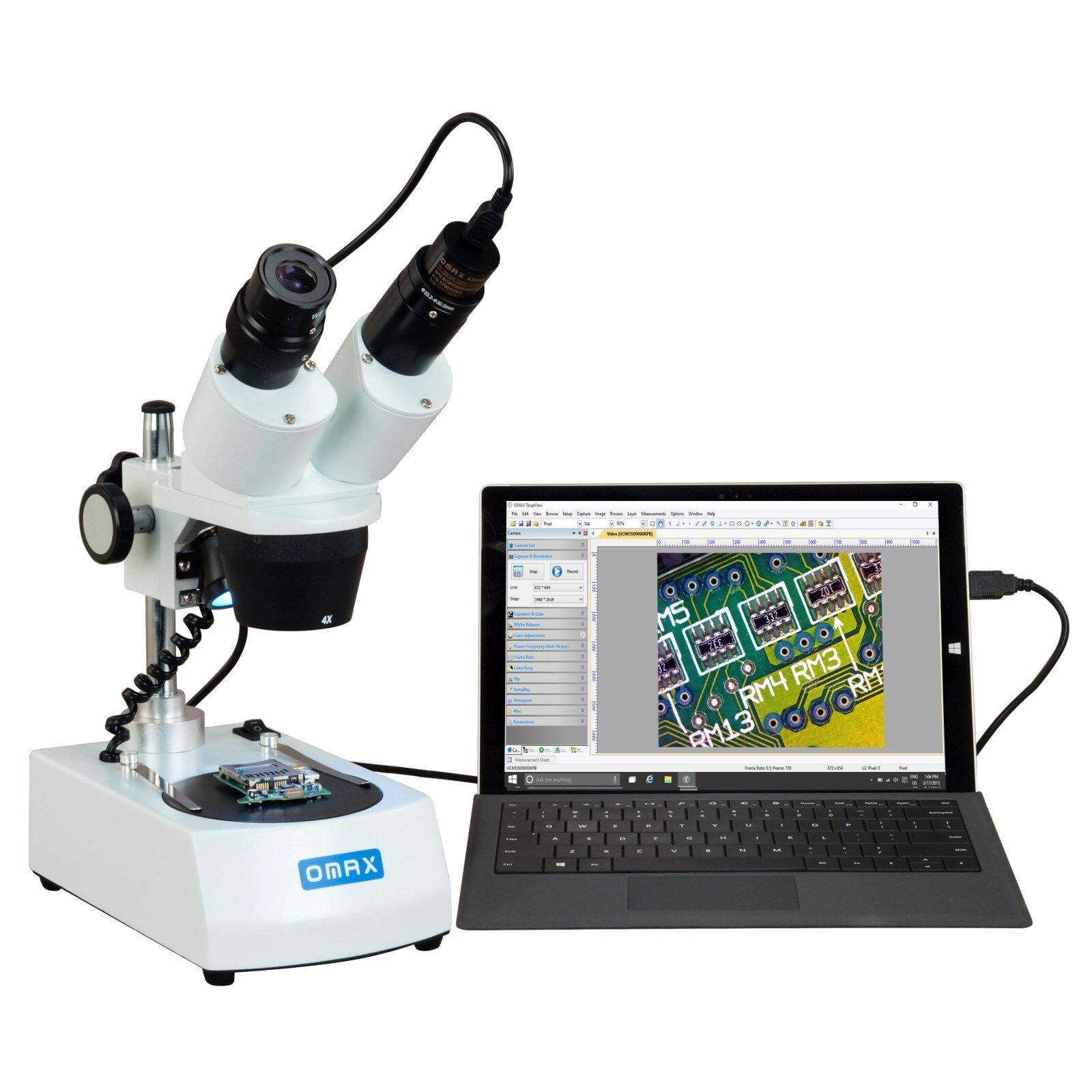 OMAX 20X -40X Student Cordless Dual LED Binokulär stereo Microskop USB - kamera