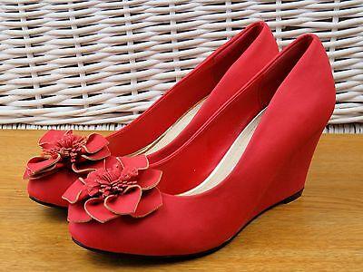 Señoras tamaño 5 38 Rojo Efecto Ante Cuña Tacón BNWT en caja