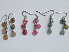 PEARLESCENT SEQUIN DROP EARRINGS NATURAL, PINK & TURQUOISE HOOKS **GC**