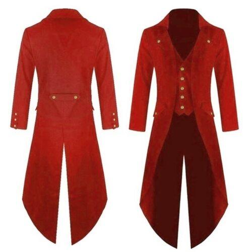 Mens Steampunk Costume Vintage Tailcoat Jacket Gothic Magician Ringmaster Coat
